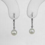 freshwater pearl leverback earrings white gold
