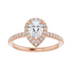 rose gold pear shape diamond engagement ring