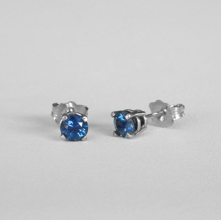 small white gold sapphire studs