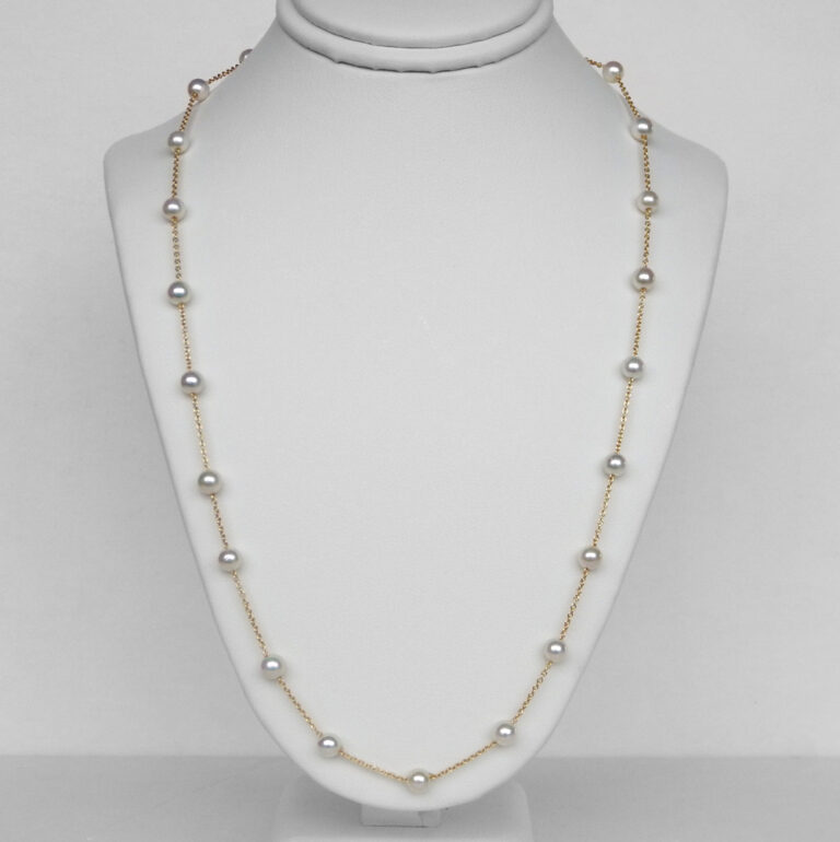 yellow gold tin cup pearl necklace