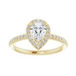 yellow gold pear shape diamond engagement ring
