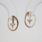 contemporary yellow gold diamond earrings