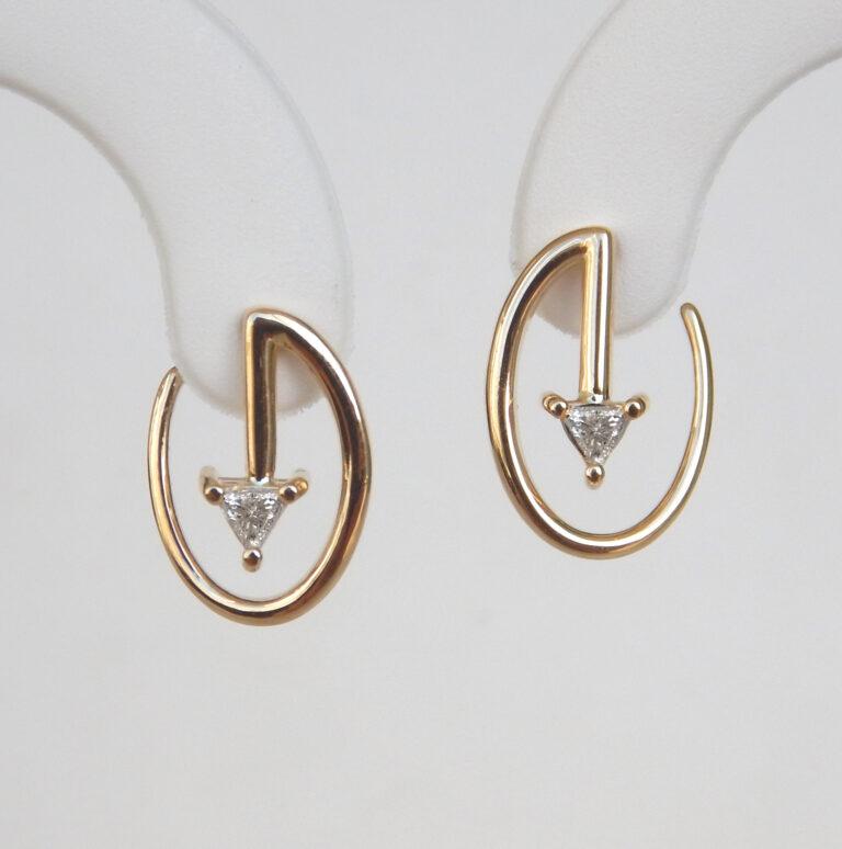 contemporary yellow gold diamond earrings