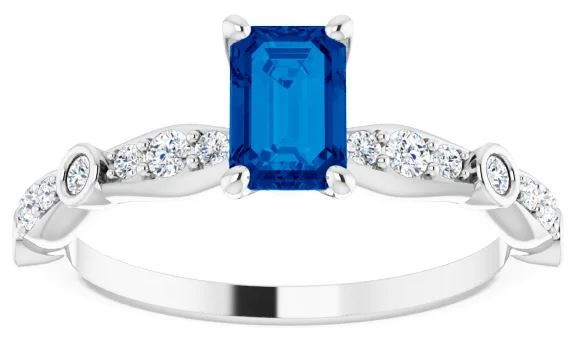 sapphire and diamond accented engagement ring