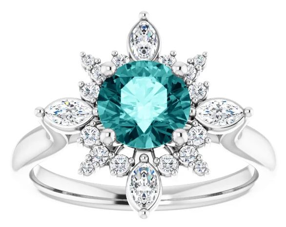 teal sapphire engagement ring with diamond halo