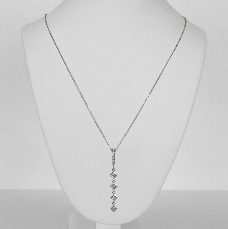 white gold vertical diamond pendant