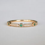 yellow gold emerald and sapphire stacking ring