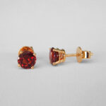 yellow gold garnet studs