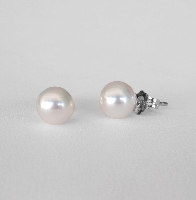 white gold akoya pearl studs