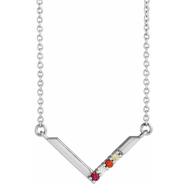 family v necklace with birthstones