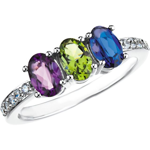 oval birthstone family ring