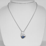 contemporary sapphire and diamond pendant on chain