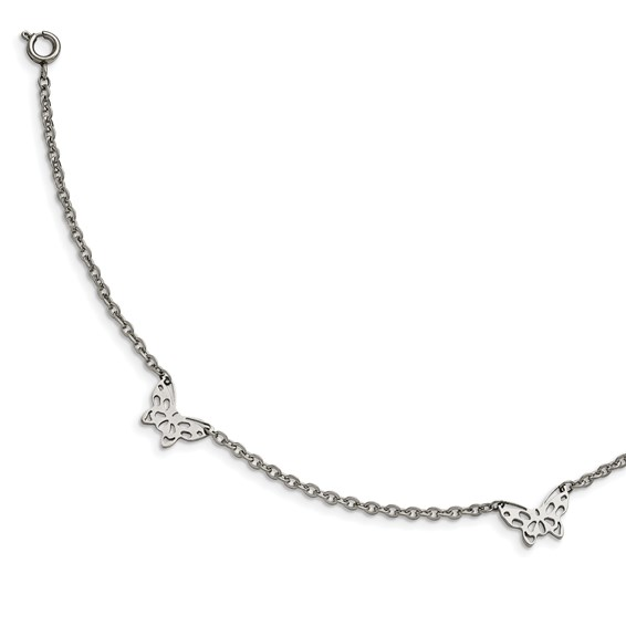 sterling silver butterfly anklet