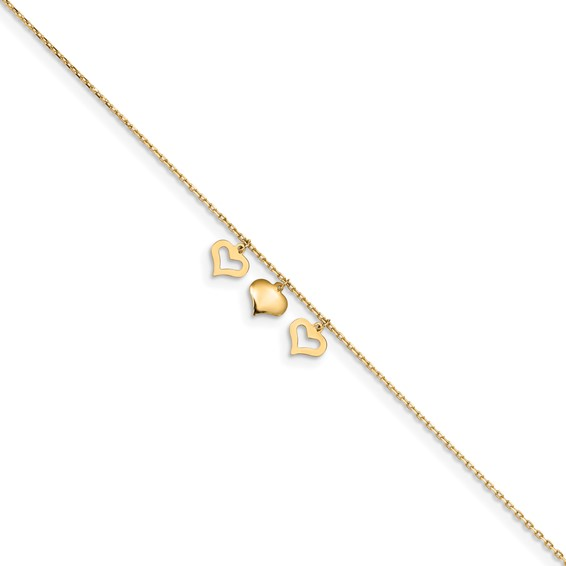 yellow gold heart anklet