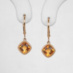 yellow gold citrine leverback dangle earrings