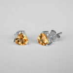 white gold trillion cut citrine studs