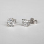 white gold round diamond studs