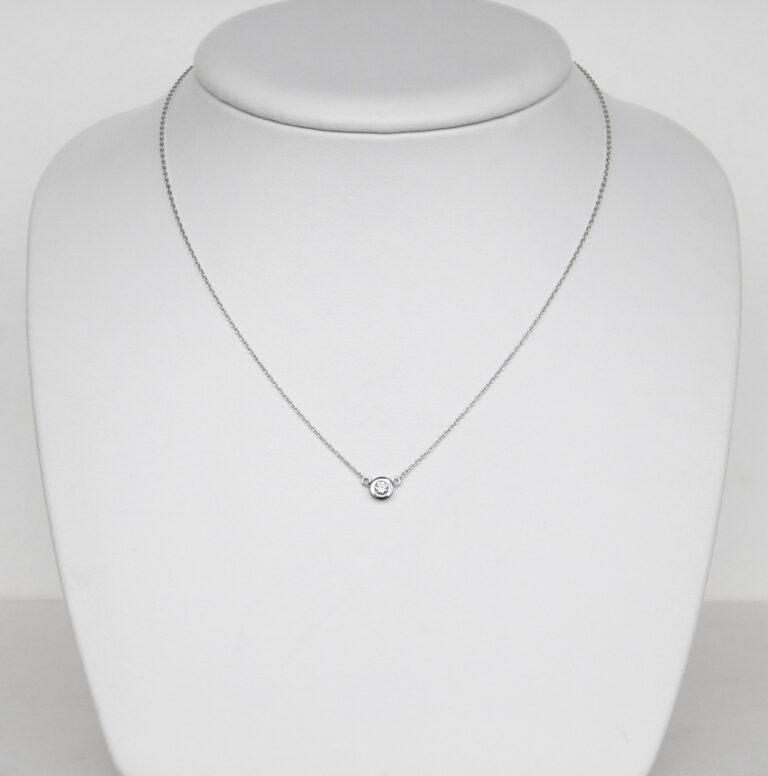 single diamond necklace white gold