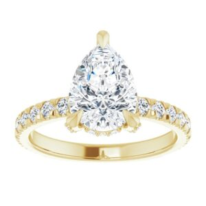 yellow gold pear diamond engagement ring