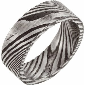 silver and black damascus steel wedding band