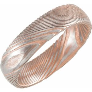 pink and silver damascus steel wedding band