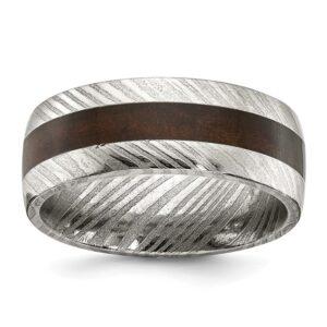 damascus steel wedding band with wood inlay