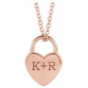 engravable heart lock necklace