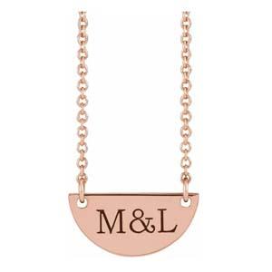 engravable half moon necklace