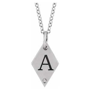 rhombus initial pendant