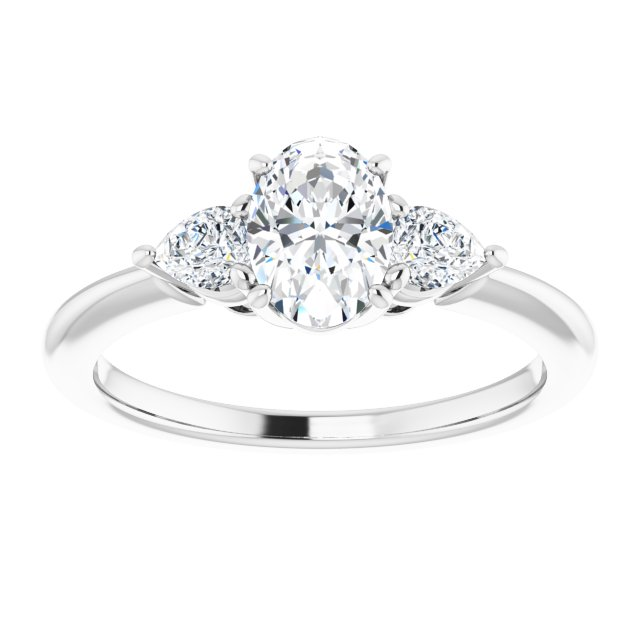 pear shape diamond accented engagement ring
