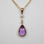 yellow gold pear shape amethyst drop pendant