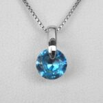 sterling silver blue gemstone pendant