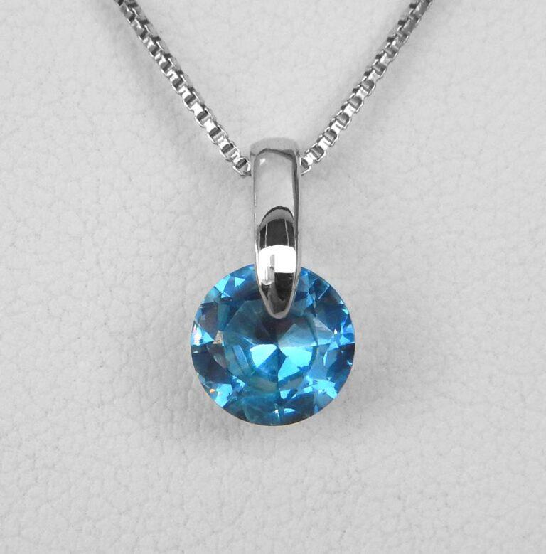 sterling silver blue gemstone pendant