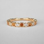 yellow gold citrine and diamond band