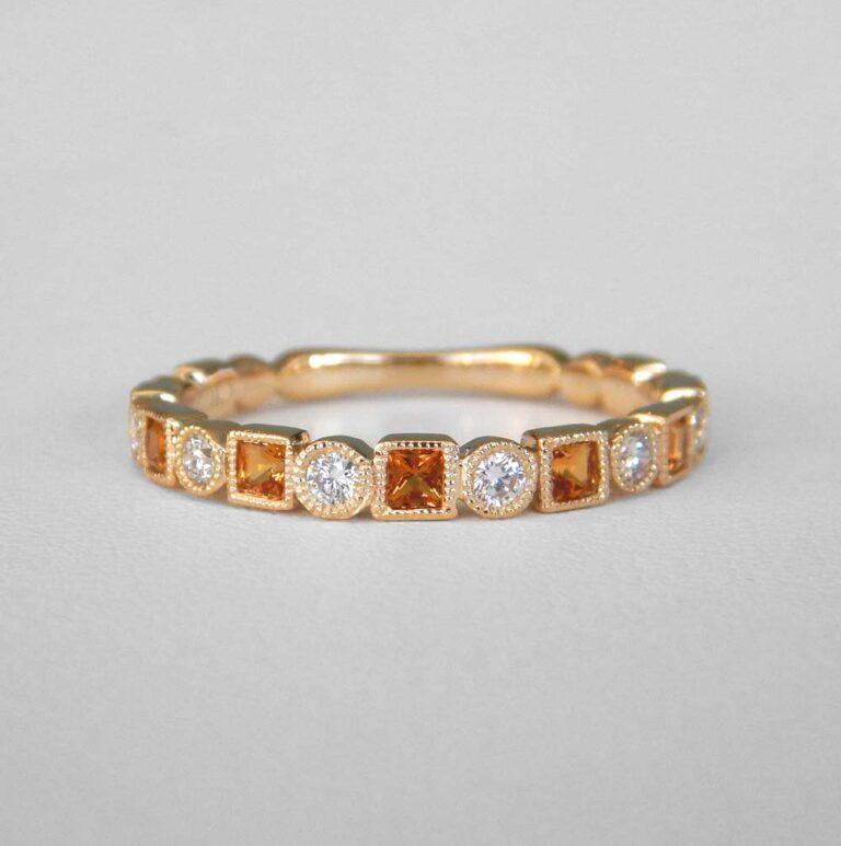yellow gold citrine and diamond band