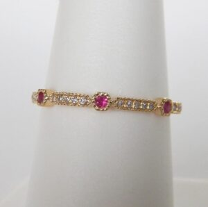 yellow gold ruby and diamond stacking band