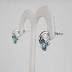 side view of sterling silver blue gemstone earrings