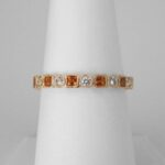 yellow gold citrine and diamond stacking ring
