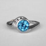 white gold blue topaz and diamond ring