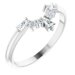 diamond contour wedding band