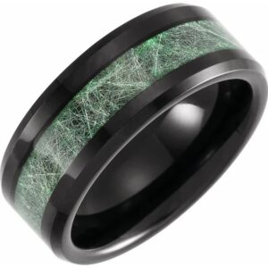 Tungsten 8 mm Beveled-Edge Band with Imitation Meteorite Inlay Mens Wedding Band