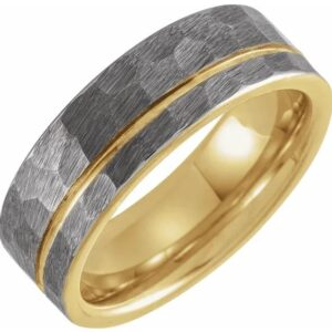 18K Yellow Gold PVD Tungsten 8 mm Grooved Mens Wedding Band with Hammer Finish