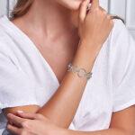 sterling silver circle link bracelet on wrist