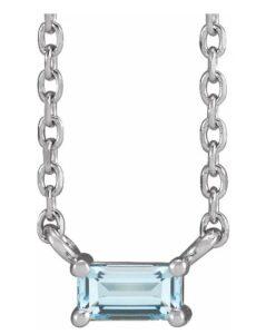baguette gemstone solitaire necklace