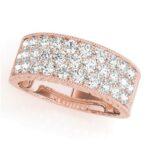 rose gold three row diamond band