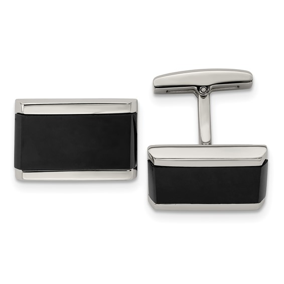 Black acrylic and stainless steel combine together to create these fashion-forward rectangular cuff links.