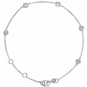 bezel set diamond station bracelet