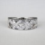 white gold floral diamond fashion band with milgrain edges
