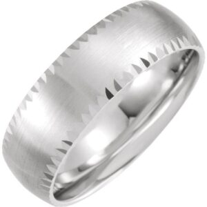 faceted edge band with satin finish