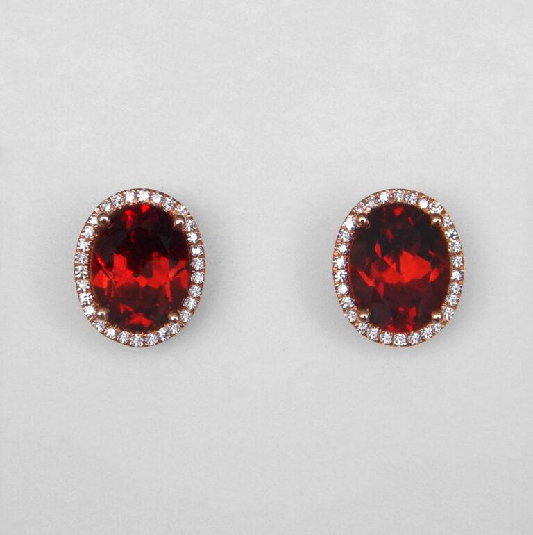 rose gold garnet and diamond halo earrings